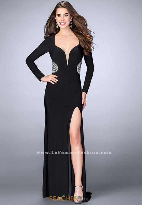 La Femme Long Sleeve Fitted Dress 23885