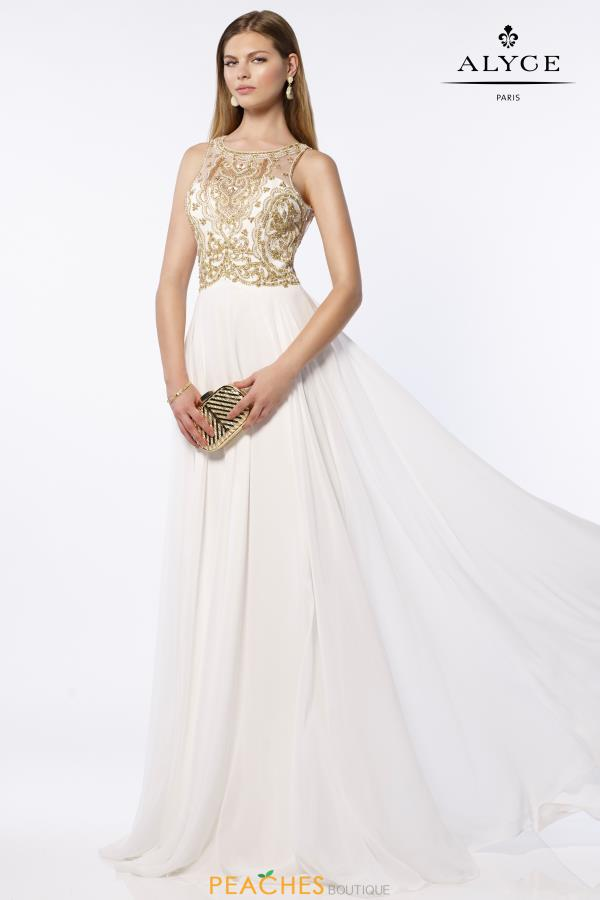 Alyce Paris Long Beaded Dress 6681