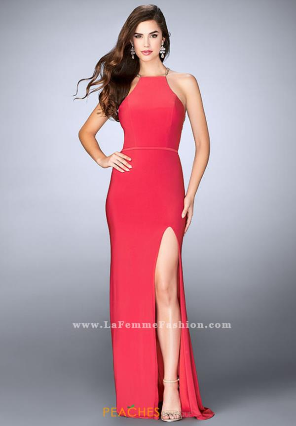 La Femme Halter Long Dress 23962