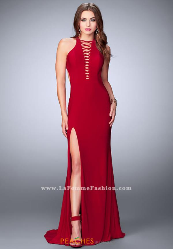 La Femme Halter Fitted Dress 23973