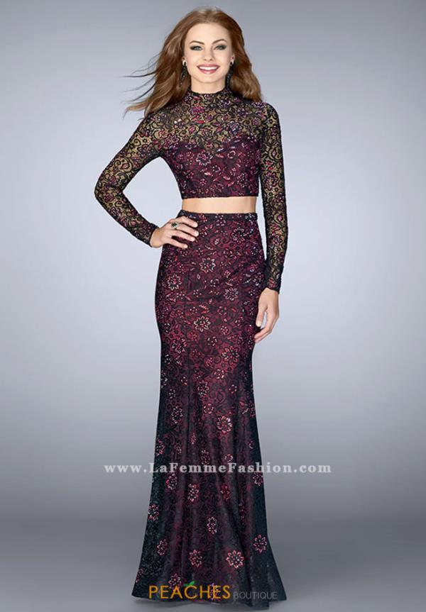 La Femme Fitted Long Dress 23985