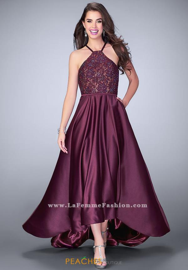 La Femme High Low Lace Dress 24012