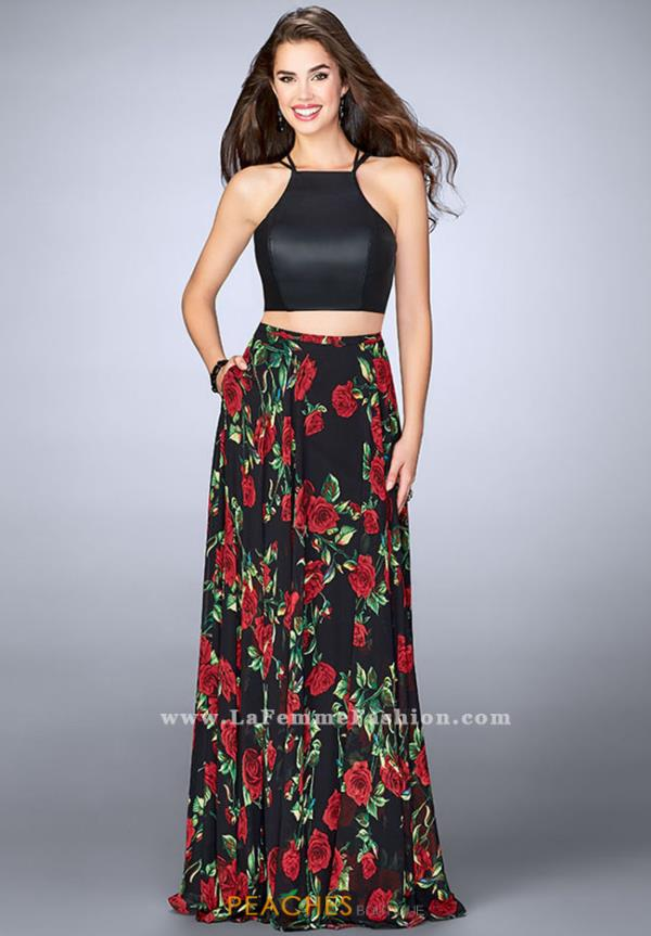 La Femme Two Piece Black Dress 24014