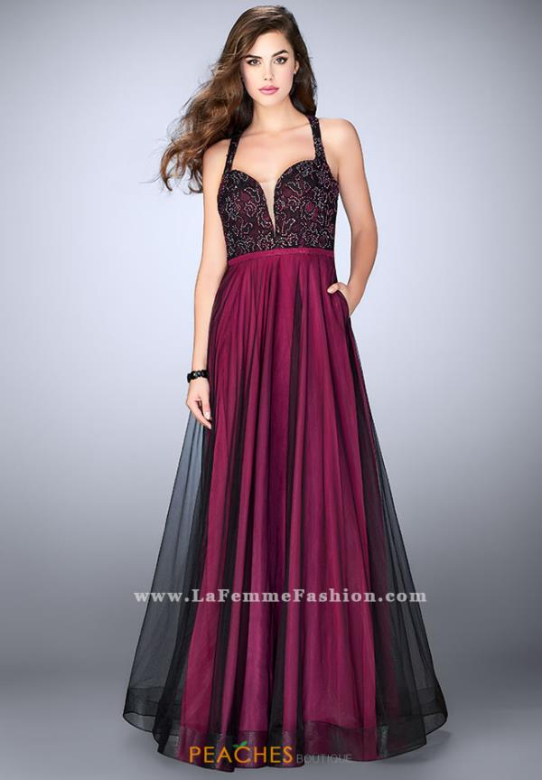La Femme Beaded Sweetheart Dress 24034