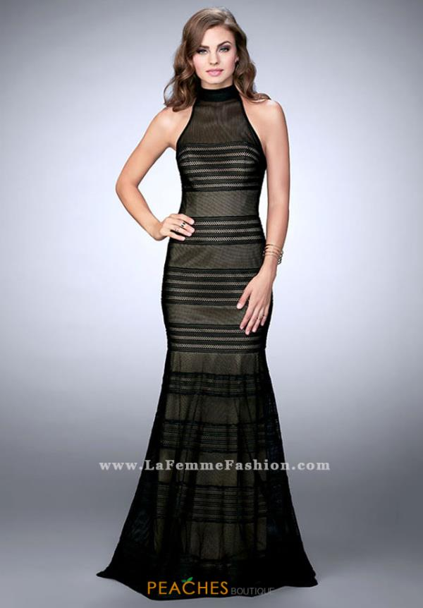 La Femme Black Mermaid Dress 24076