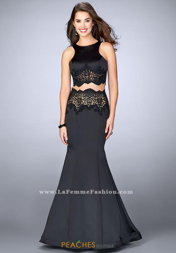 La Femme Black Lace Dress 24083