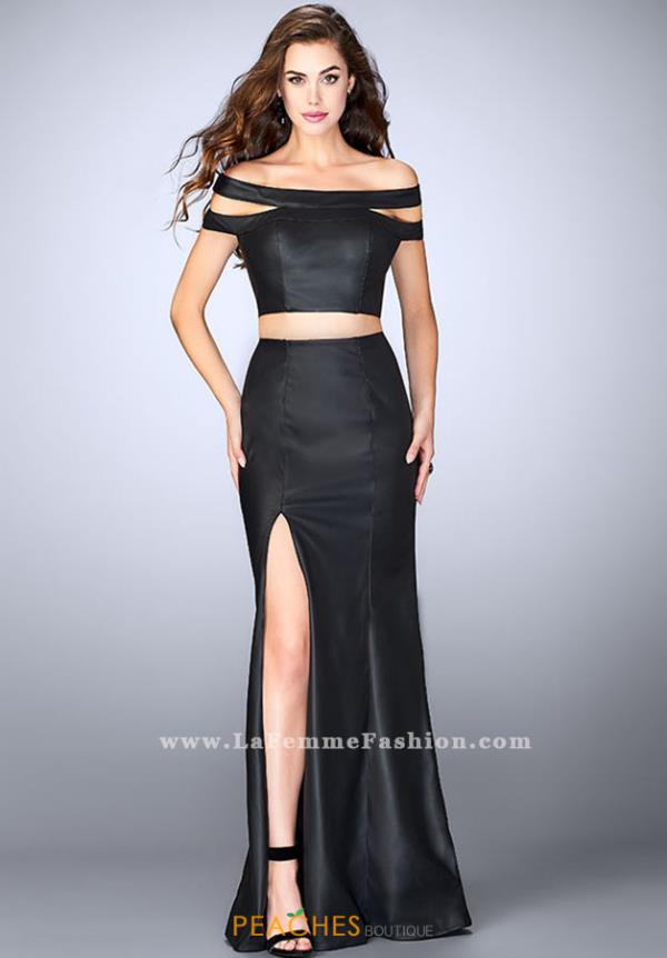La Femme Cap Sleeve Long Dress 24109