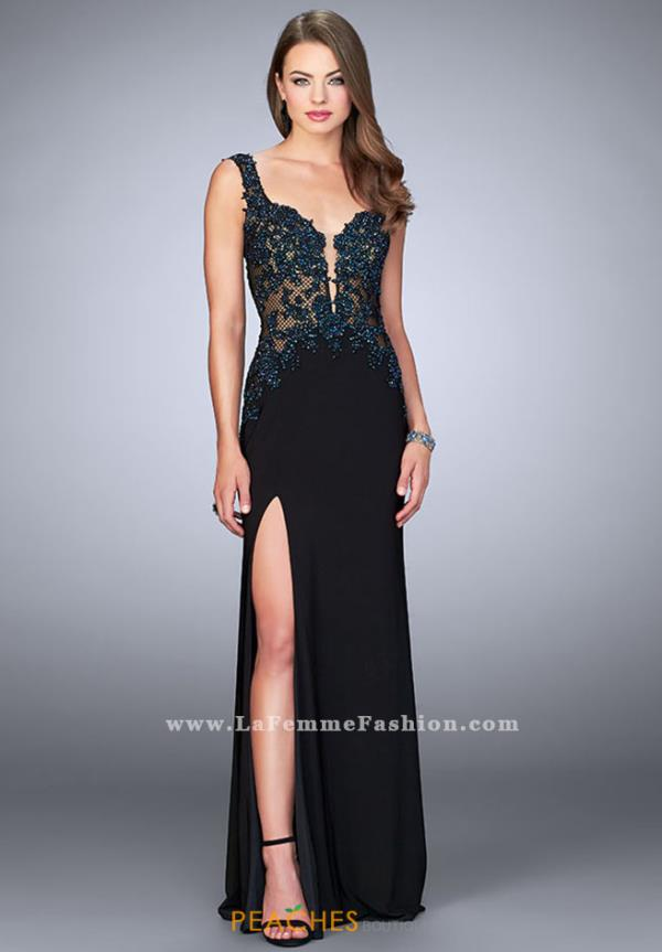 La Femme V-Neck Applique Dress 24168