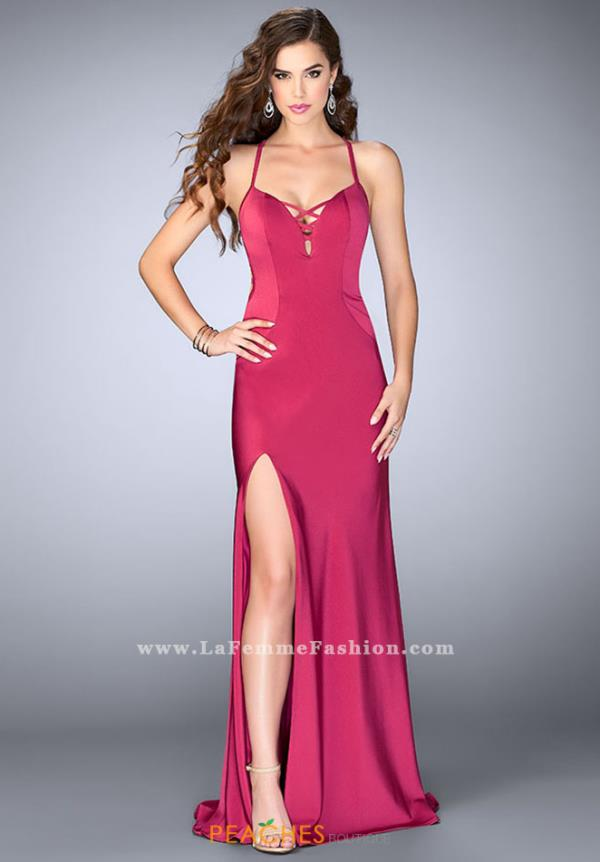 La Femme Long Fitted Dress 24170
