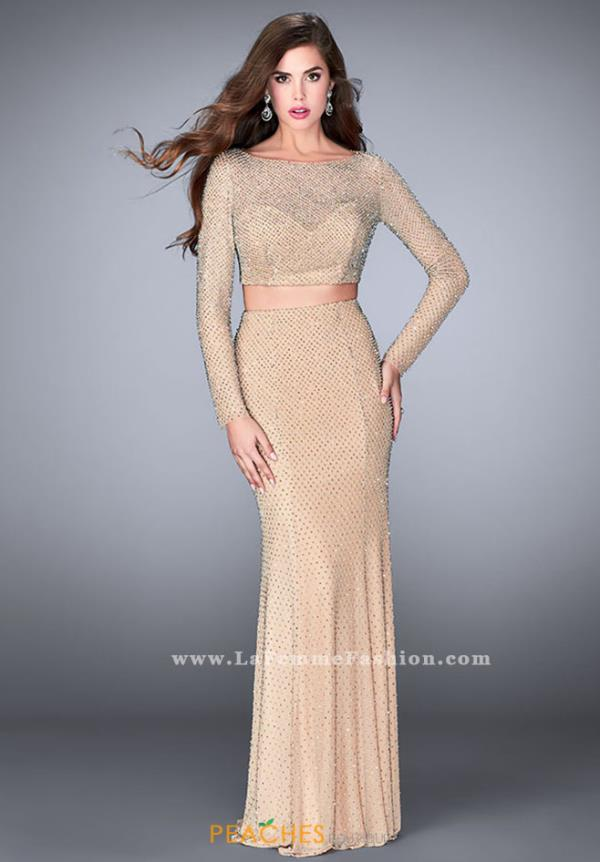 La Femme Long Sleeved Fitted Dress 24175