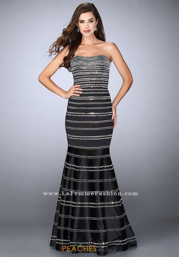 La Femme Beaded Strapless Dress 24180