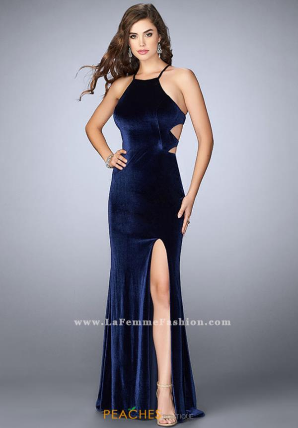 La Femme Velvet Fitted Dress 24218