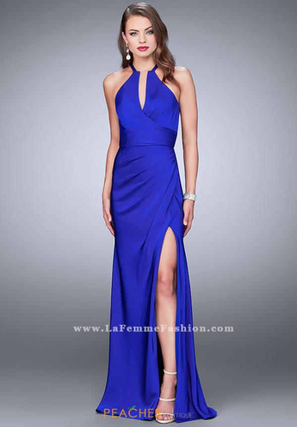 La Femme Halter Fitted Dress 24225
