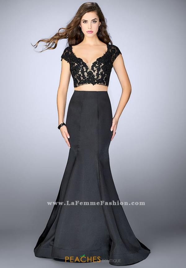 La Femme Sleeved Fitted Dress 24239