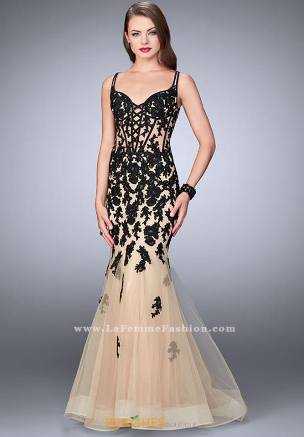 La Femme Black Mermaid Dress 24240