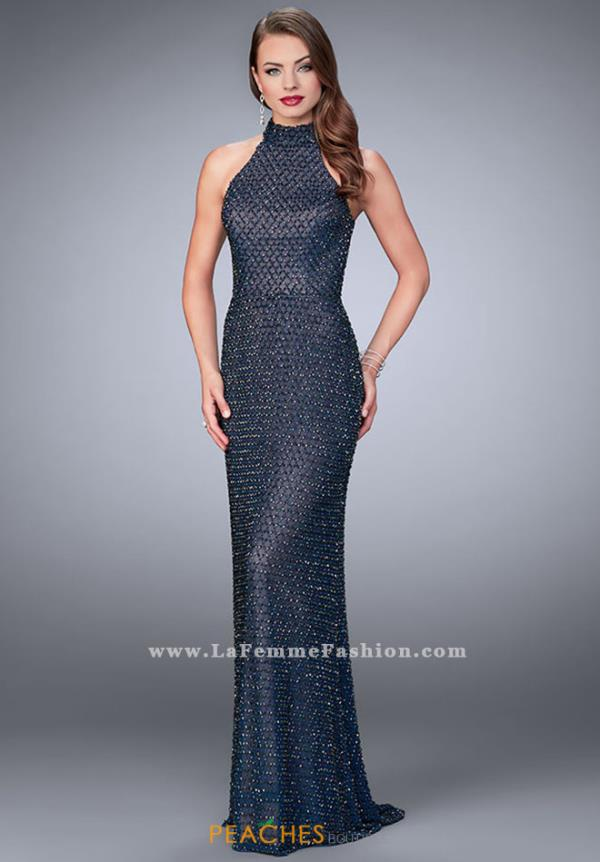La Femme Navy Fitted Dress 24258