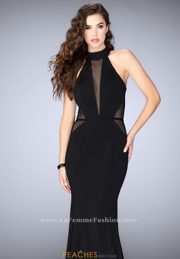 La Femme Black Halter Dress 24261
