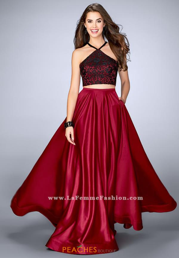 La Femme Satin Two Piece Dress 24264