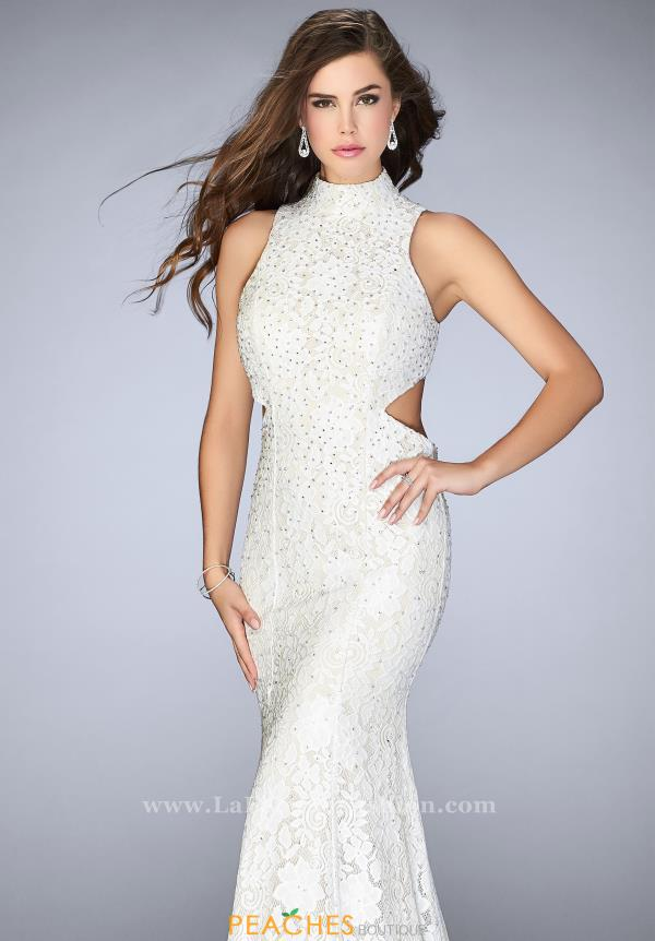 La Femme Long Fitted Dress 24294