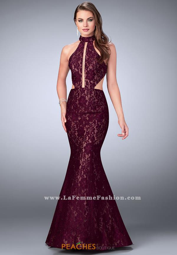 La Femme Lace Long Dress 24303