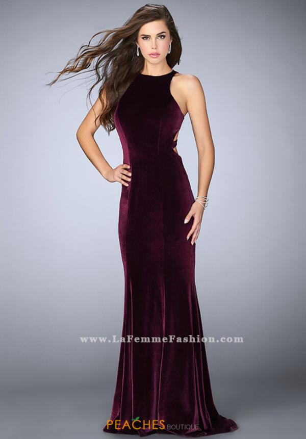 La Femme Long Velvet Dress 24316