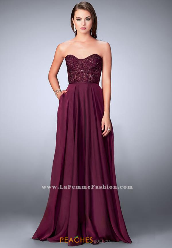 La Femme Strapless Long Dress 24318