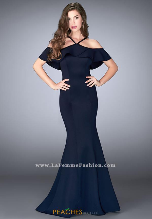 La Femme Off the Shoulder Fitted Dress 24344