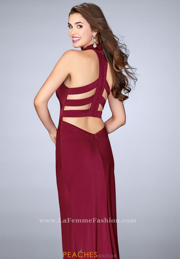 La Femme Sexy Back Halter Dress 24376