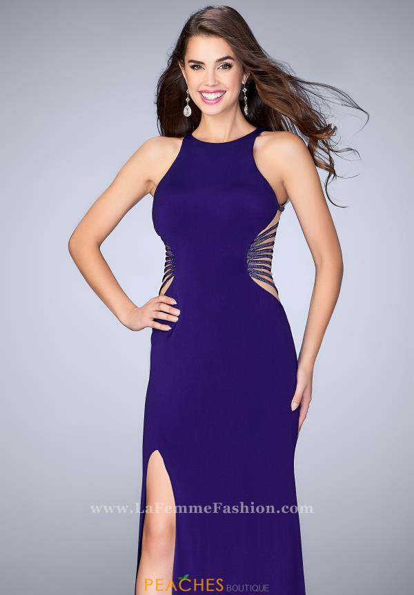 La Femme Jersey Long Dress 24432