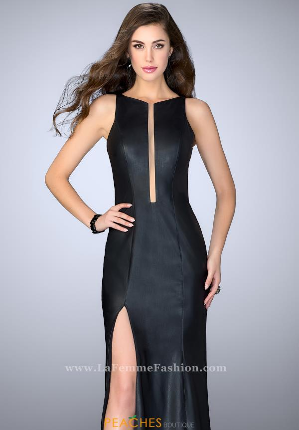 La Femme Leather Fitted Dress 24469