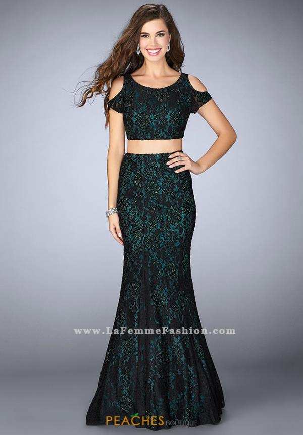 La Femme Lace Two Piece Dress 24583