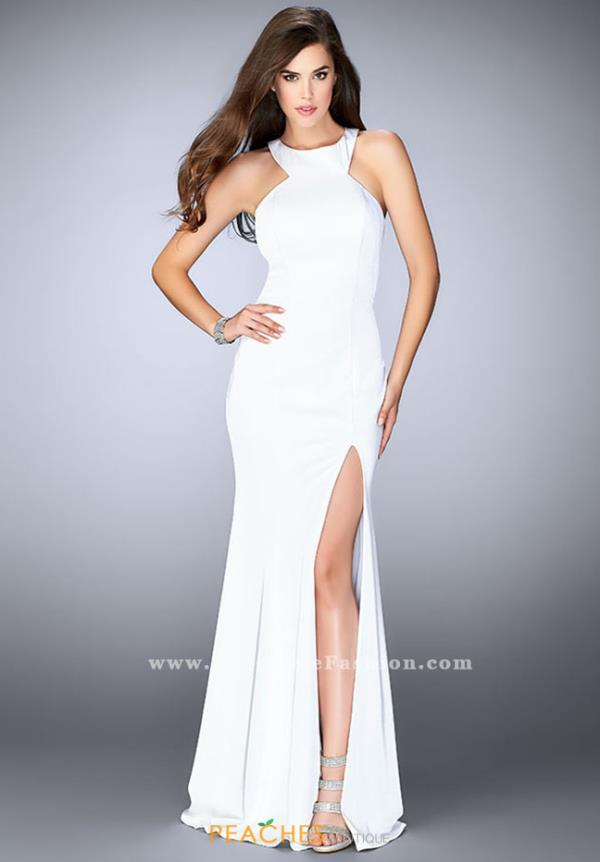La Femme High Neckline Fitted Dress 24585