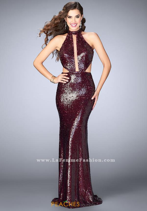 La Femme Long Fitted Dress 24595