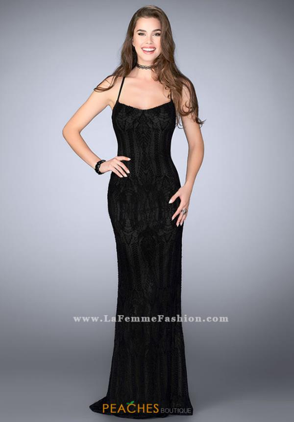 La Femme Black Fitted Dress 24740