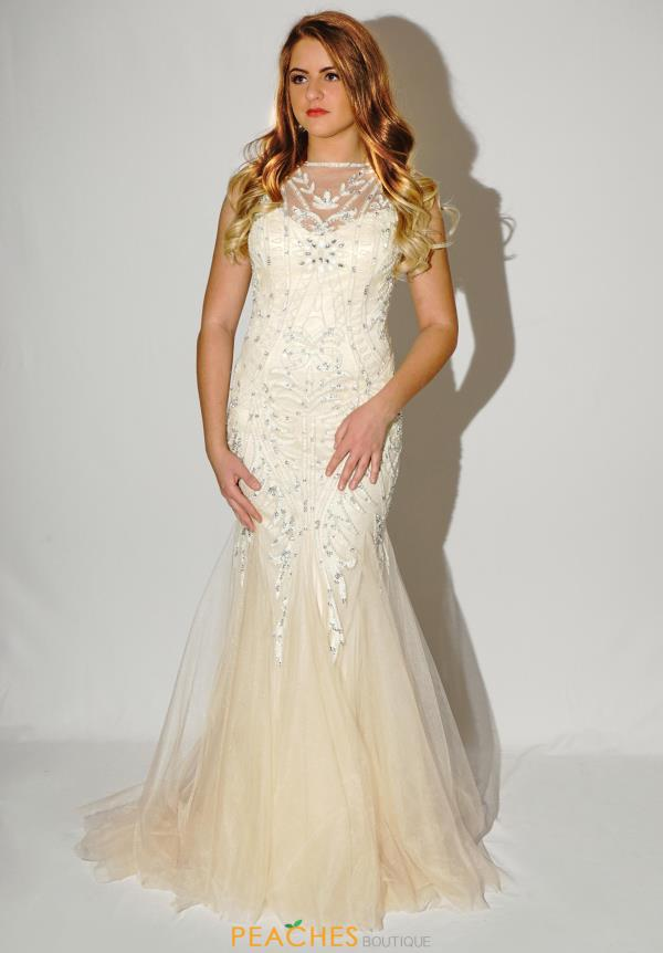 Jasz Couture High Neckline Beaded Dress 5610