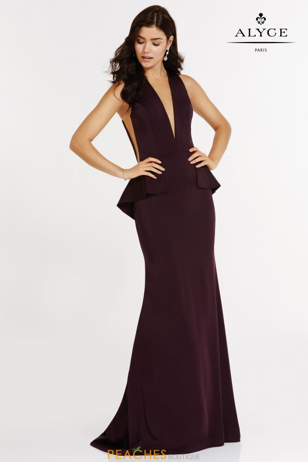 Alyce Paris V-Neck Fitted Dress 8002