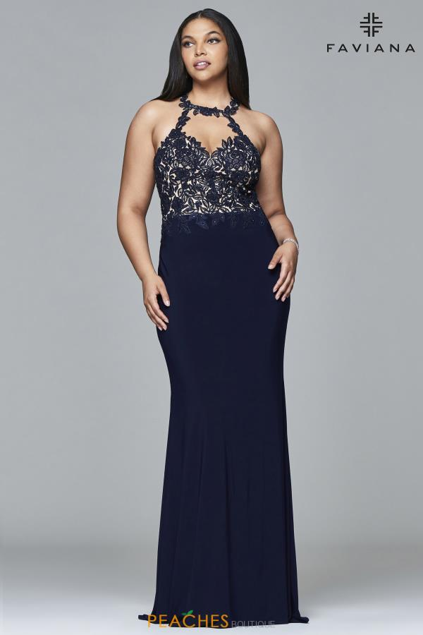 Faviana Halter Beaded Dress 9394