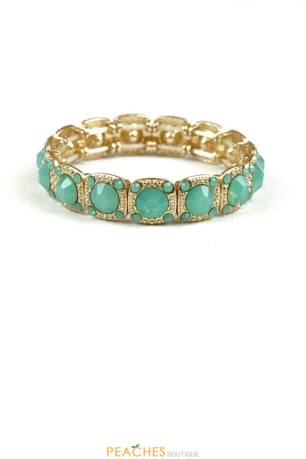 Mint and Gold Stretchable Bracelet