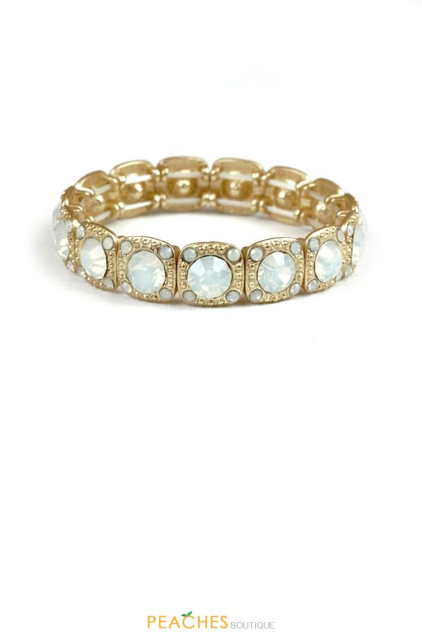 Opal and Gold Stretchable Bracelet