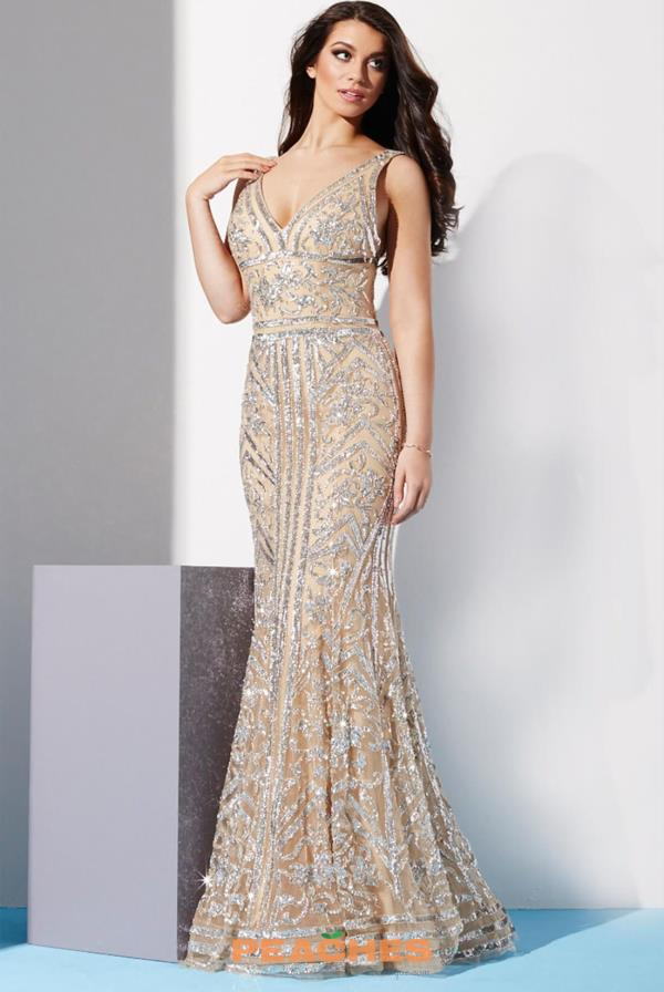 Jovani V- Neckline Beaded Dress 33007