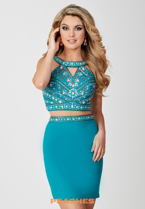 Hannah S Beaded High Neckline Dress 27073