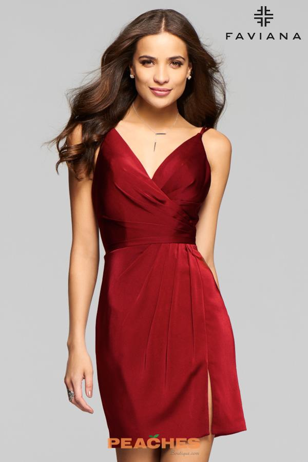 Faviana V- Neckline Fitted Dress 7850