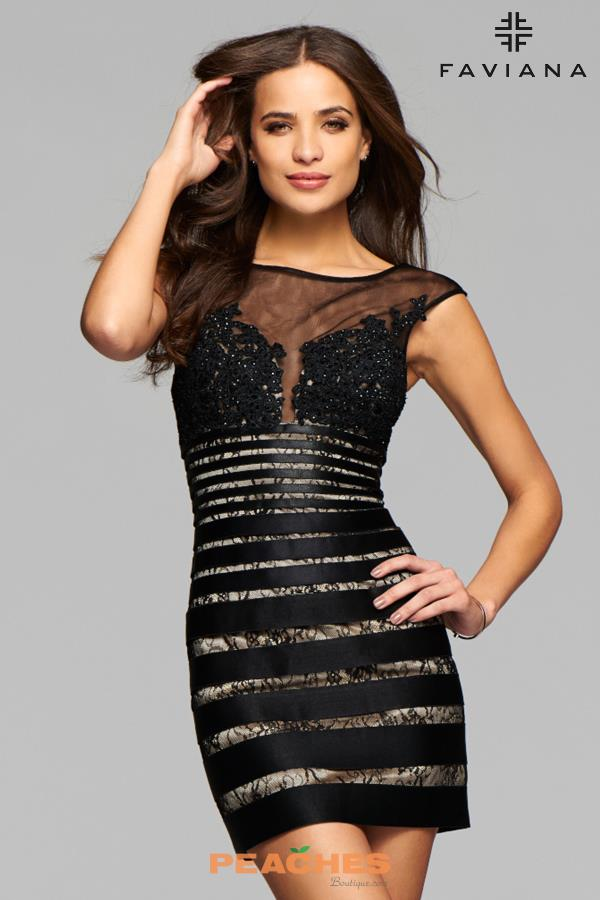 Faviana Fitted Black Dress 7886
