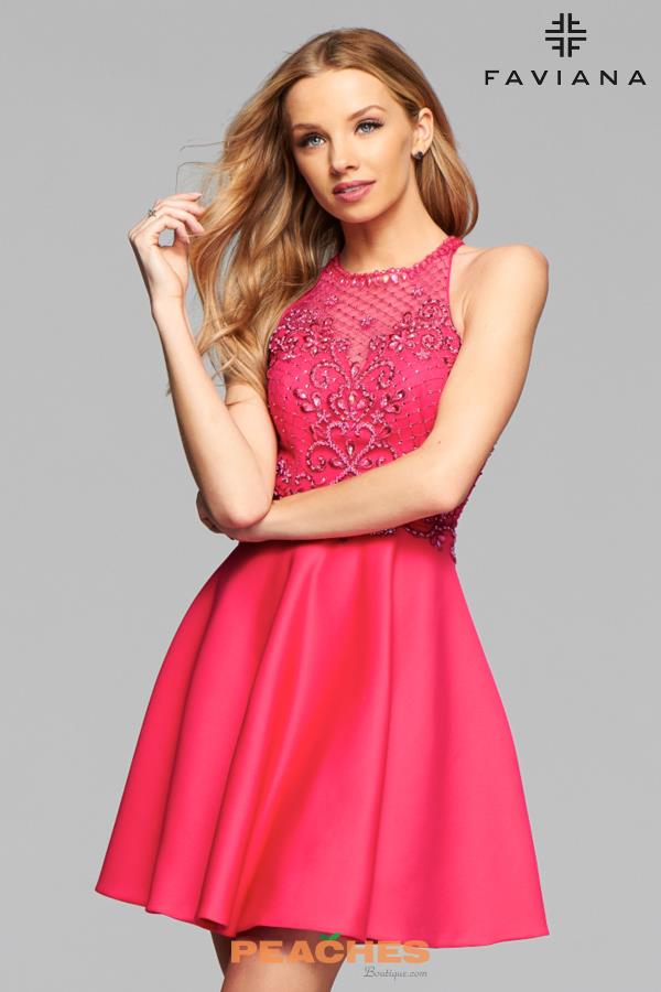 Faviana Beaded A Line Dress S7871