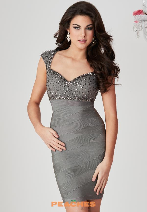 Hannah S Cap Sleeved Beaded Dress 27135