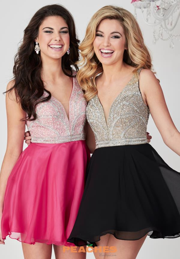 Hannah S Beaded V- Neckline Dress 27139