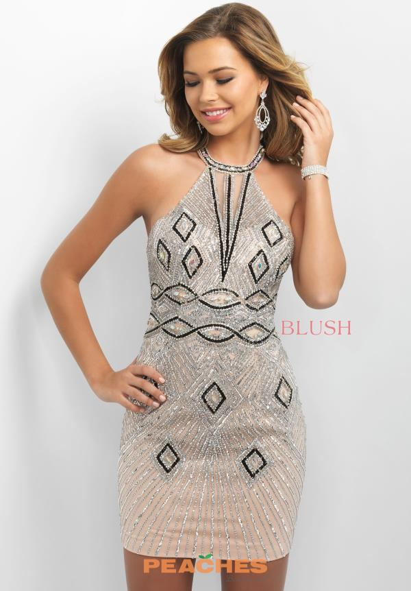 Blush Beaded Short Dress C354