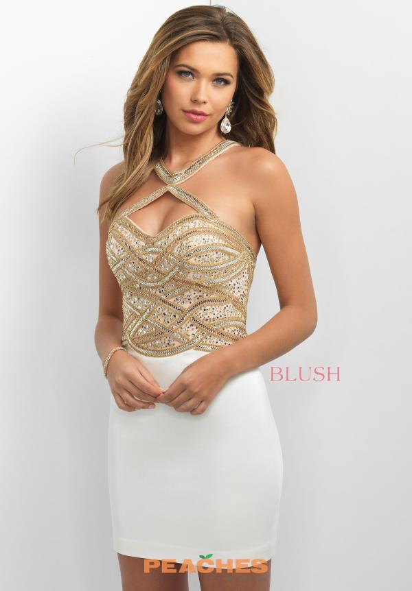 Blush Beaded Halter Top Dress C361