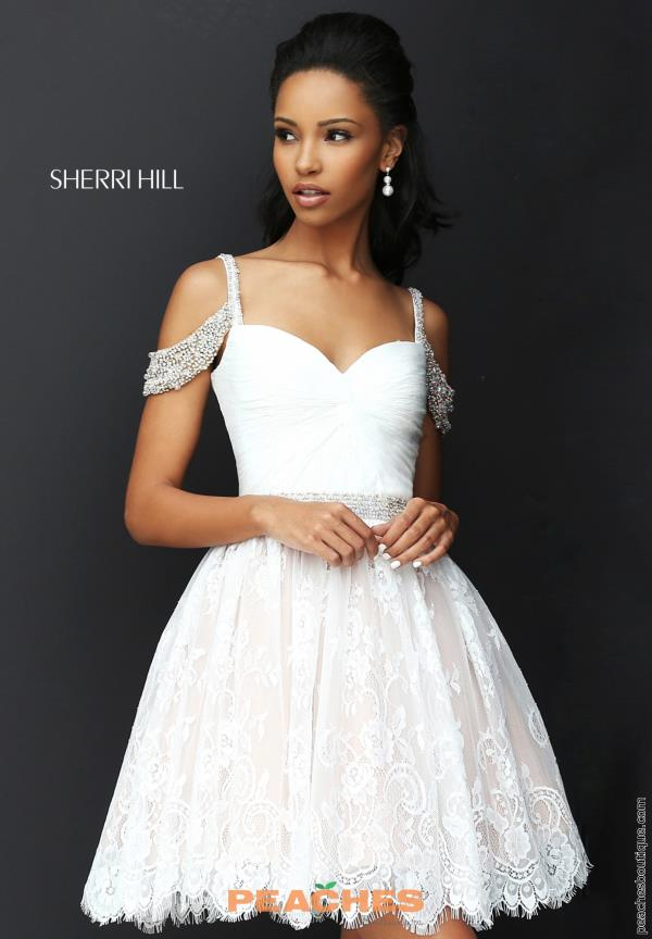 Sherri Hill Short Lace A Line Dress 50503