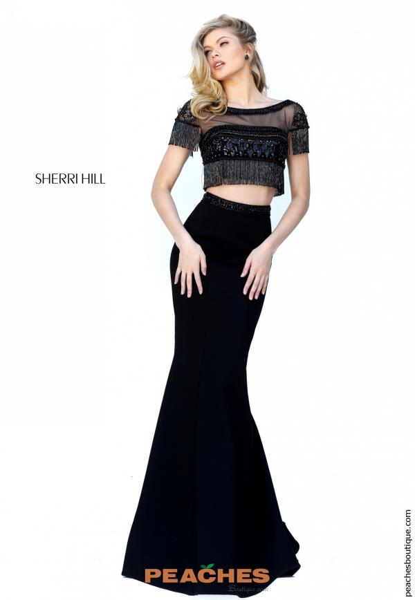 Sherri Hill Two Piece Fringe Dress 50539